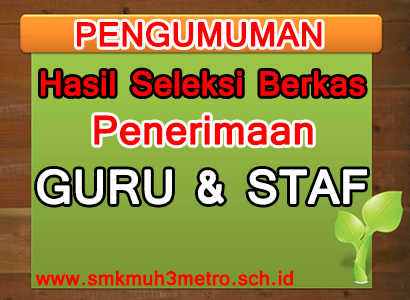 Pengumuman Hasil Seleksi Berkas Penerimaan Guru dan Staf SMK Muhammadiyah 3 Metro Tahun 2015